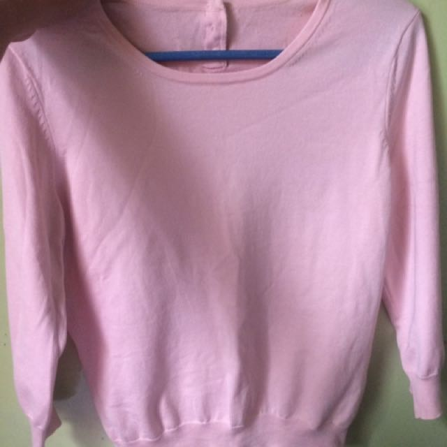PASTEL PINK SEMI CROP KNITTED