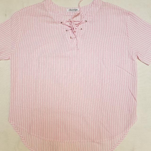 Pink Bow Stripe Blouse