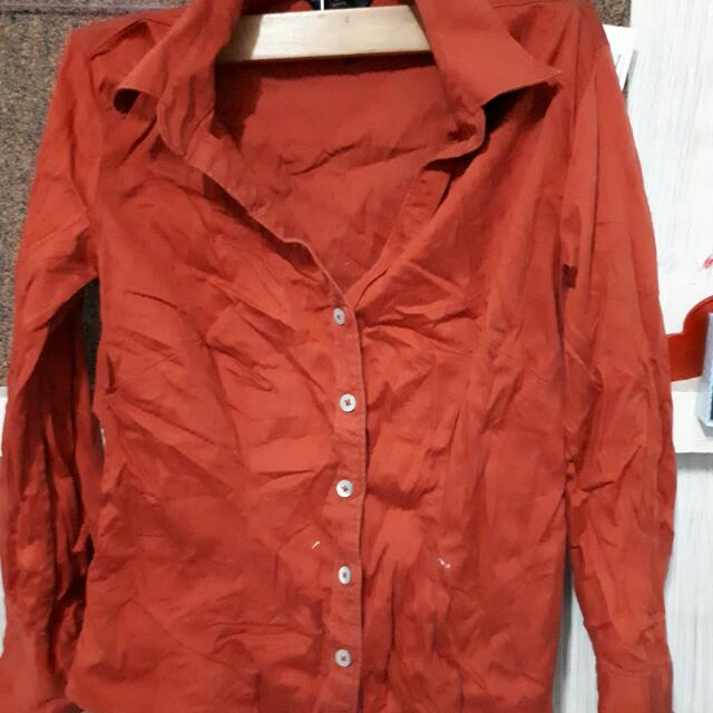 Polo Blouse (Red-Orange)