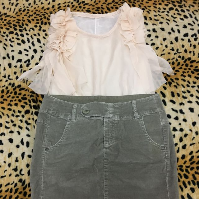 Ruffled Top and United Colors of Benetton Skirt