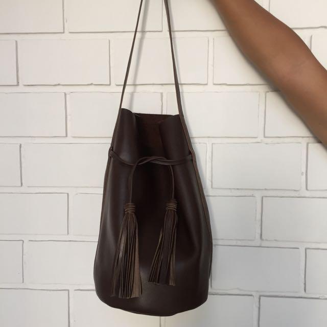 Sample Production Bucket Tote Bag Dark Brown