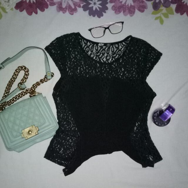 Sexy Black Laced Peplum Top