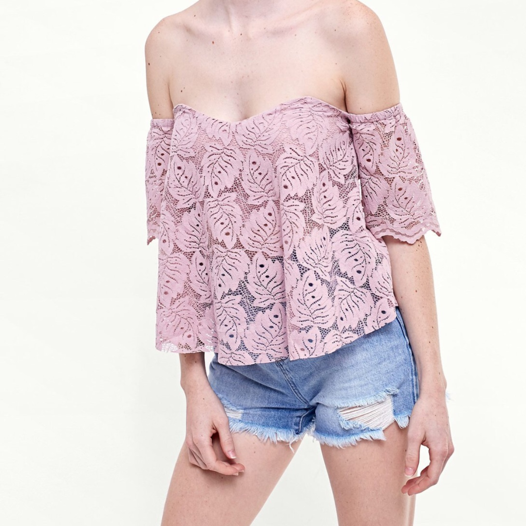 Stradivarius Crochet T-shirt with sweetheart neckline