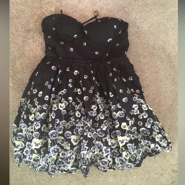 Strapless Black Flower Dress
