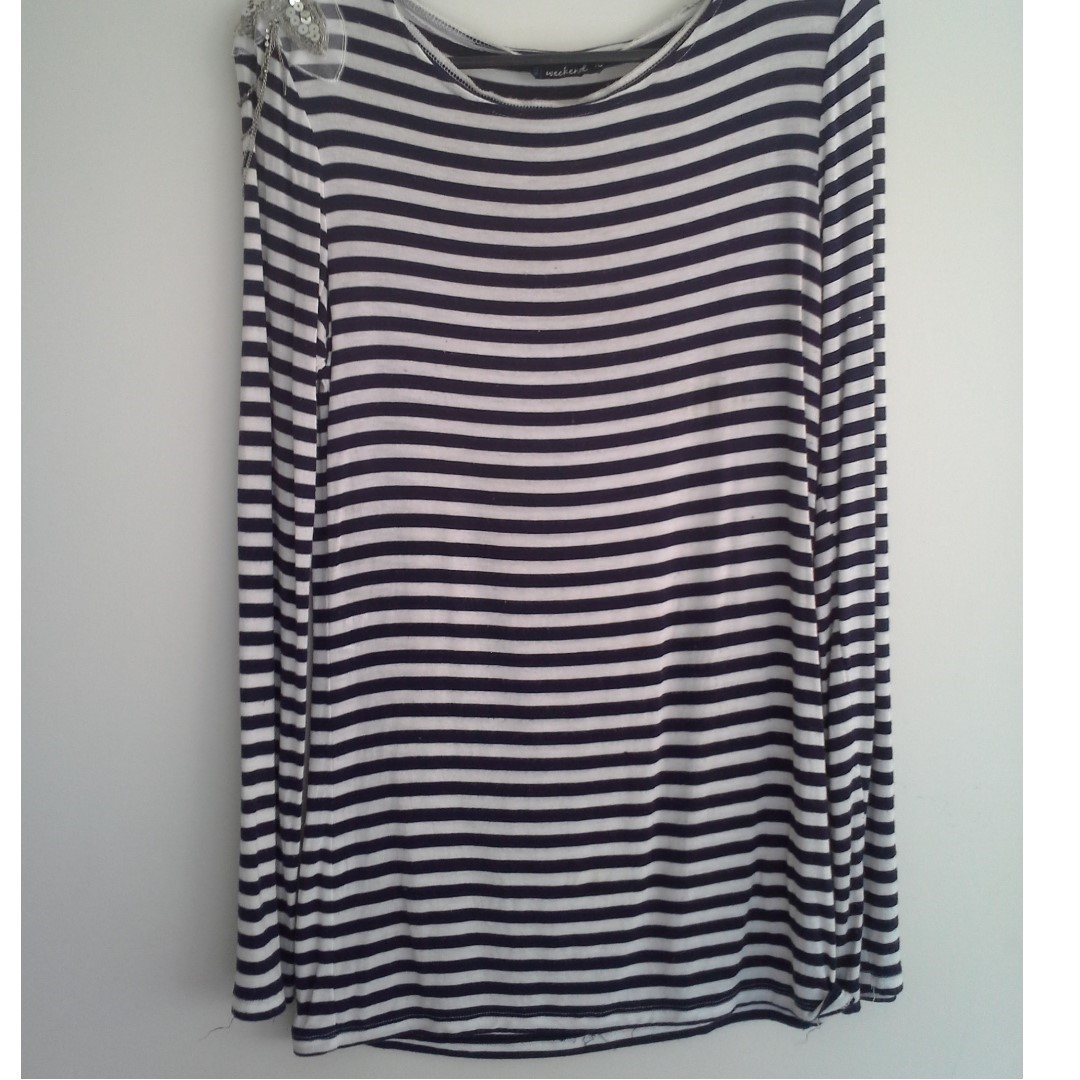 Sz10/12 Navy Blue & White Stripe long sleeve top