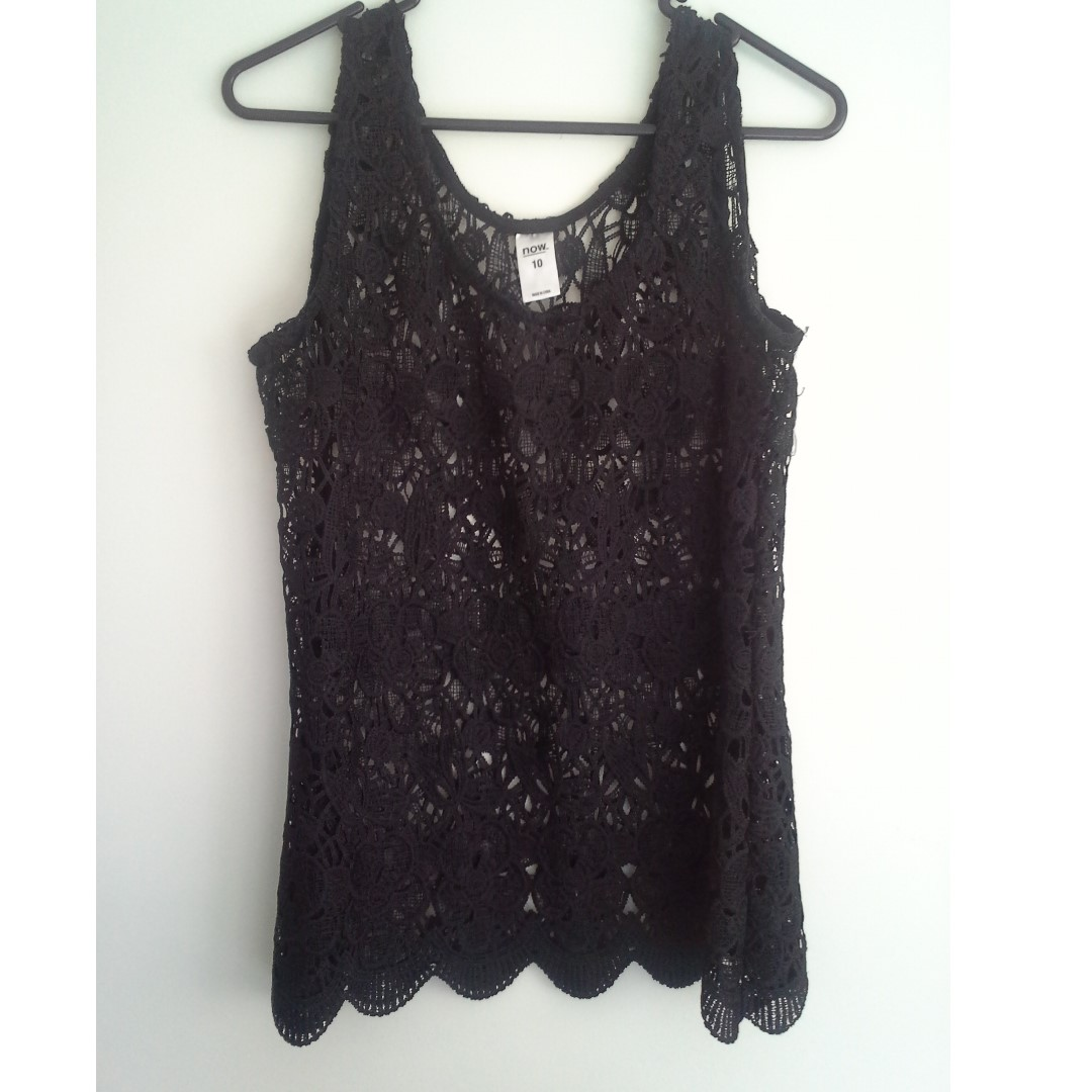 SZ10 Black See-through Patterned Singlet Top