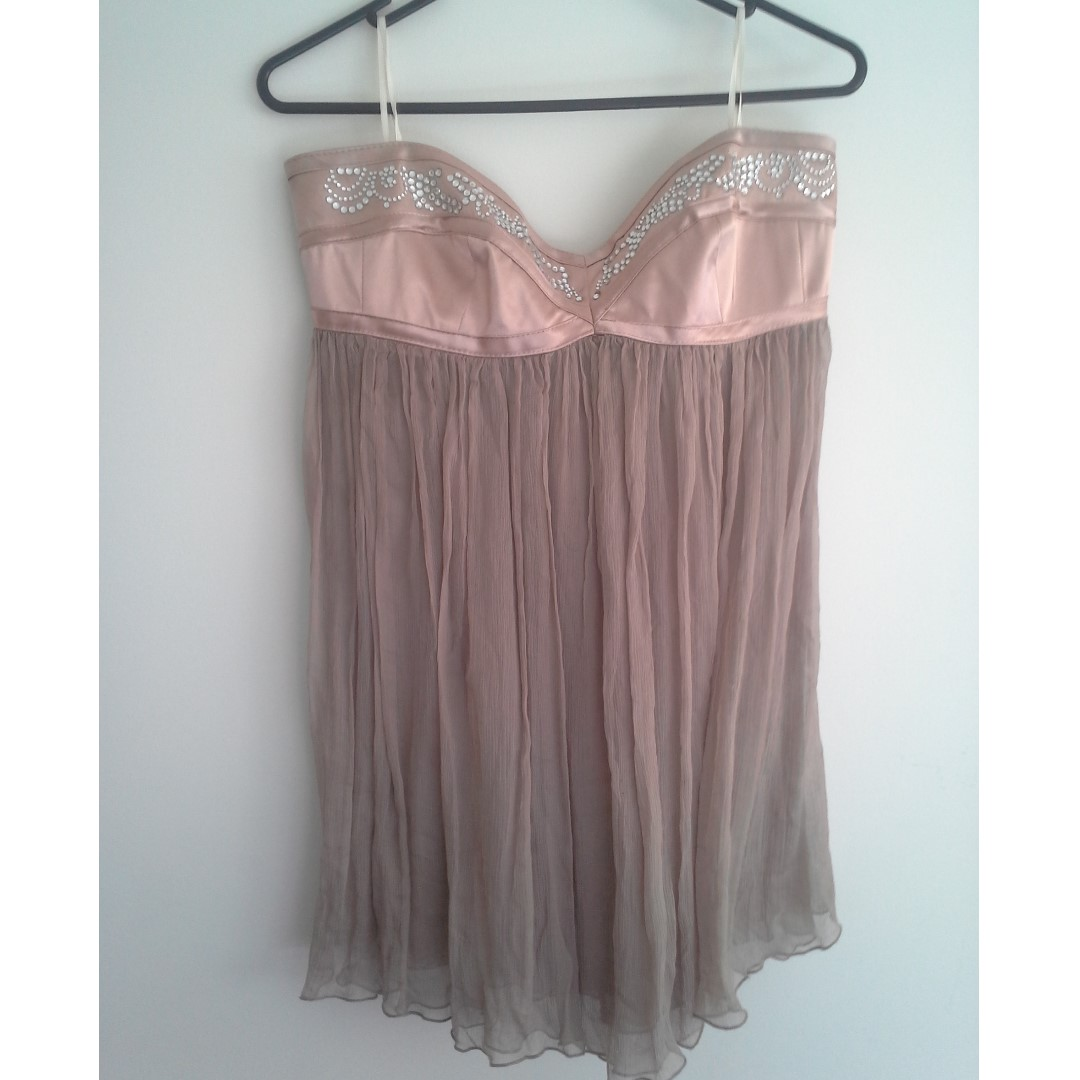 SZ12 Nude Strapless Satin & Sheer Chiffon Top