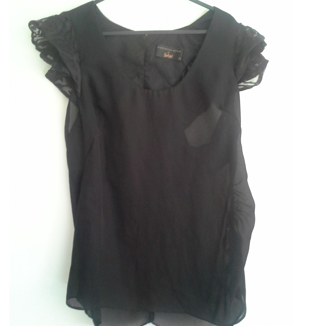 SZ14 Black Sheer Top with Lace Shoulder detailing