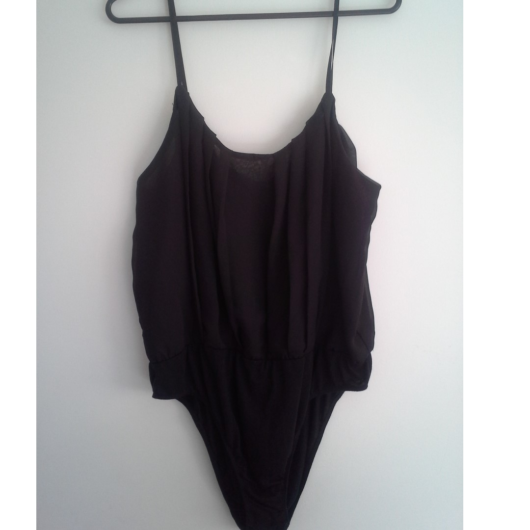 XL Black Chiffon/ Cotton bottom Body Suit...