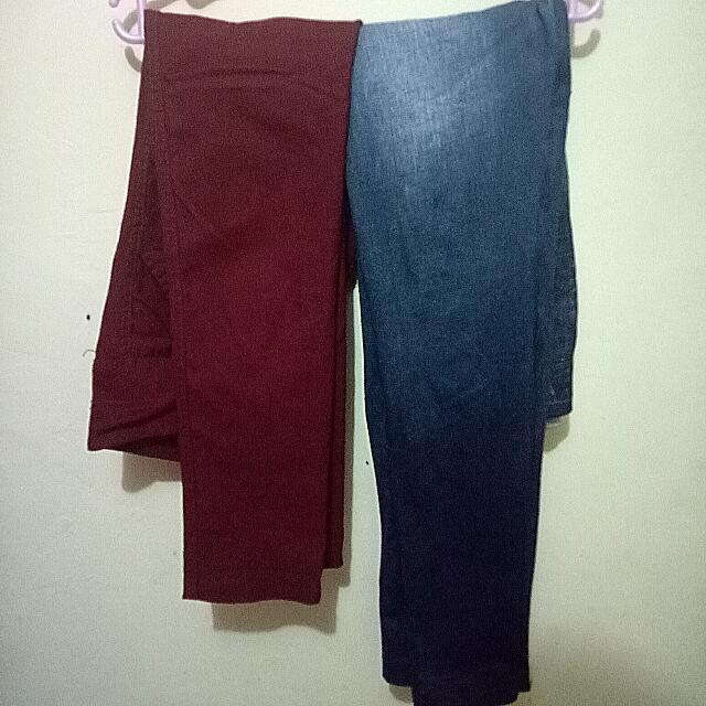 REPRICED!!! TAKE ALL Super Skinny Maroon Pants + Blue Leggings