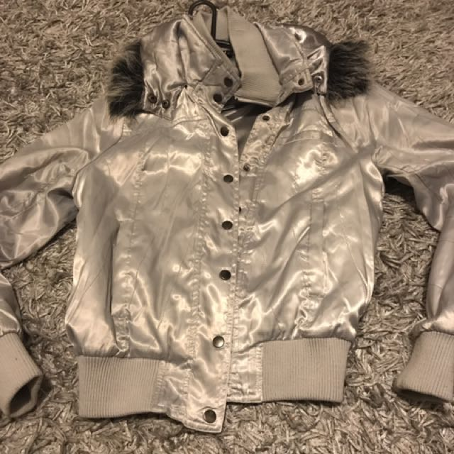 Used Brand City Beach Silver Bomber Jacket Size 12