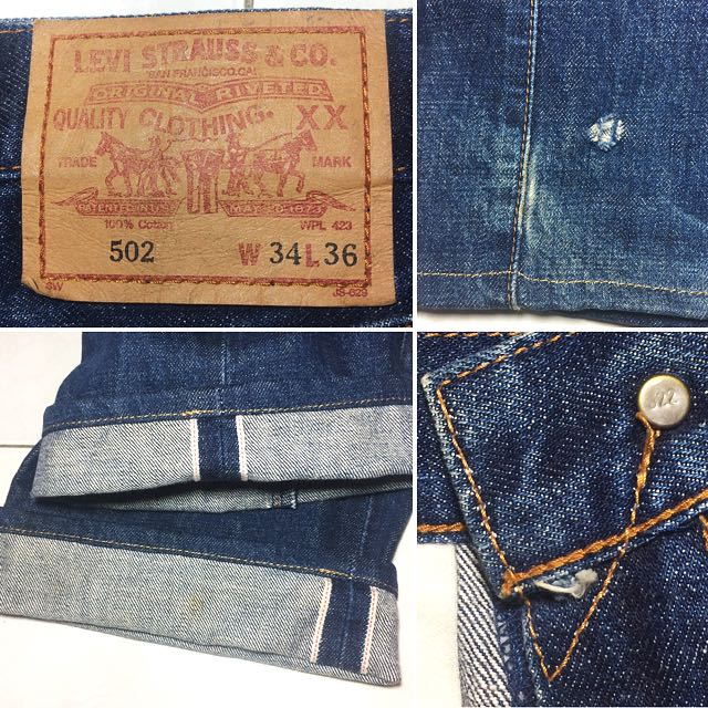 VINTAGE LEVIS BIG E 502 JEANS MADE IN JAPAN BUTTON J22 V STITCH ...