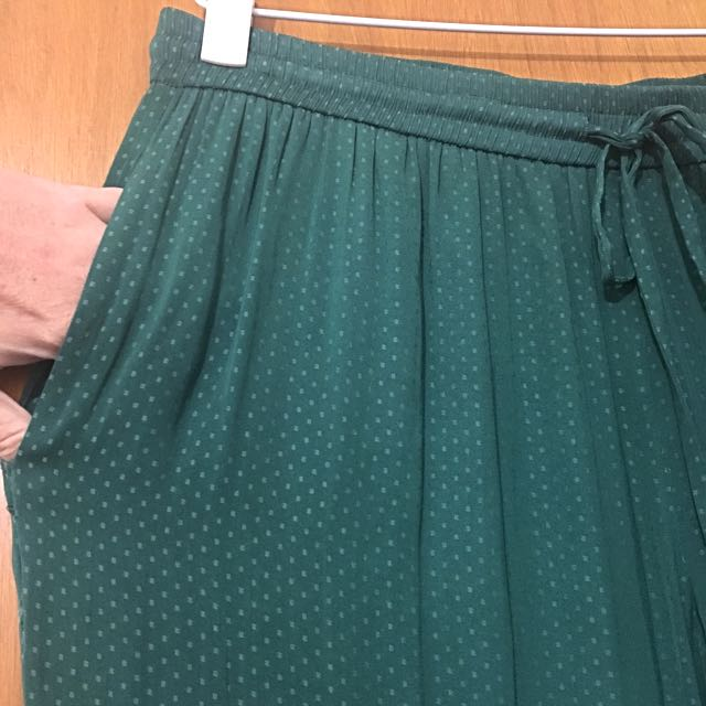 Wide leg silk look drawstring pants -Sz16