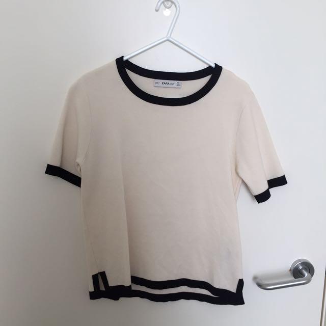 Zara Basics White Black Top With Piping Detail