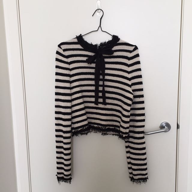Zara Knit Collection Striped Top With Bow/Ribbon