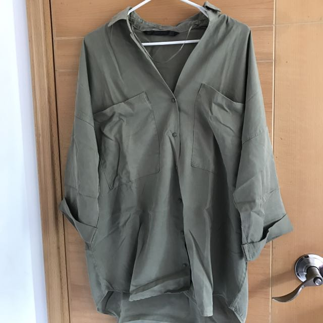 Zara Oversized Military short sleeves shirt with drop shoulders details