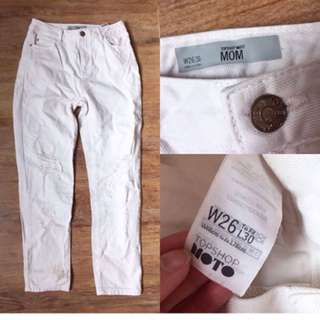 TOPSHOP RIPPED WHITE JEANS