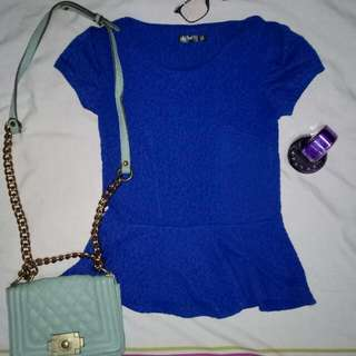 Blue Peplum Office Top