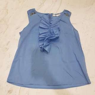 BYSI Blue Ruffle Top
