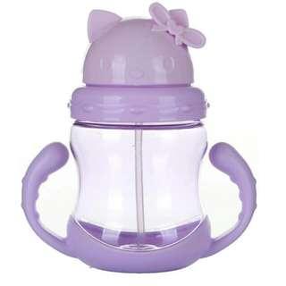 兒童吸管水杯 帶手柄 防漏 學飲杯(紫色)