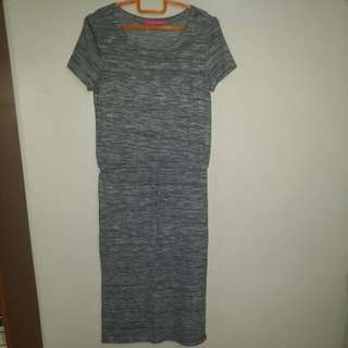 Long Wool Dress With 3inches Slit At The Back