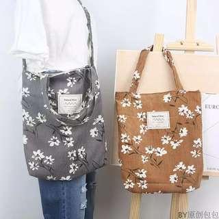 🚚 日系好質感水仙花氣質花朵印花棉布包