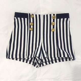 Forever 21 High Waisted Shorts - XS / Navy & White