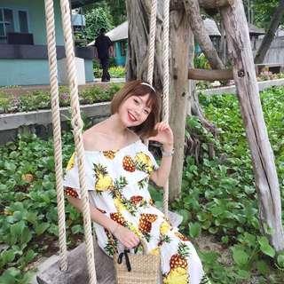 出去玩可以穿的鳳梨長版洋裝