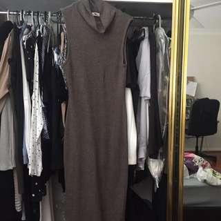 Mocha Brown Knit Midi Dress Cow Neck