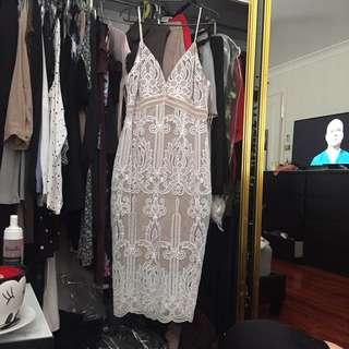 Fresh Soul Lace White Nude Midi Dress