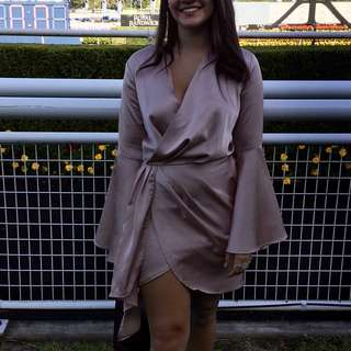 Champagne Silk Wrap Style Dress