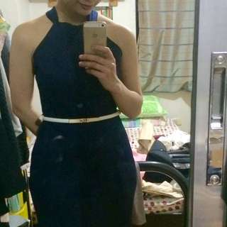 Navy Blue Halter Dress