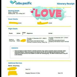 Seat Sale Flight Ticket to Hong Kong for 2!
