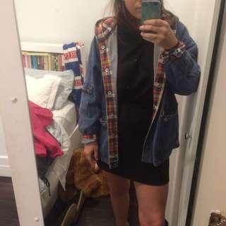 Vintage Denim Jacket W/ Tartan