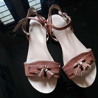 REPRICE!! Brown Tassel Sandal By Zalora