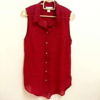 (INC POS) H&M Red Abstract Top