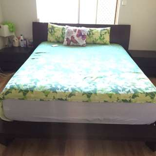 Queen Size Bed With Two Bed Side Tables