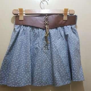 Denim Skirt w/ Hearts Design
