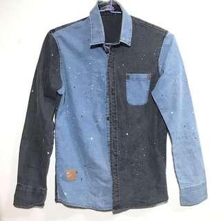 潑墨 潑漆古著襯衫 雙色 陰陽 藍 灰黑