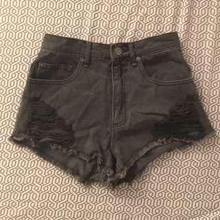 Distressed Dark Grey Festival Shorts