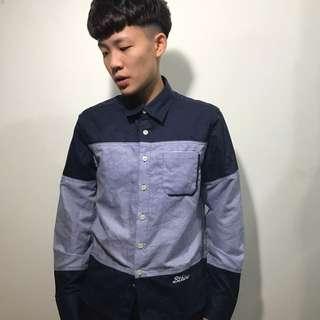 藍色條紋拼接 長袖襯衫