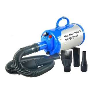 Silver-Blue 2800w High Power Pet Blower Quick Dry 10 Mins. With Warranty. Free Next Day Delivery.