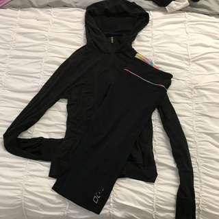 Active Wear - Lorna Jane 3/4 Running Tights & Puma Hoodie Long Sleeve Zip Top - Both Size M 10/12