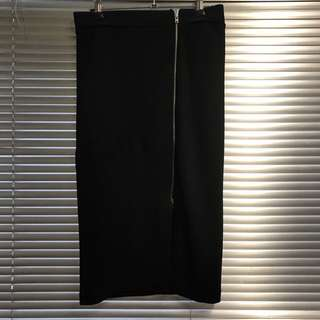 Witchery Black Midi Skirt - Zip Detail - M / 10