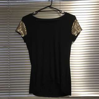 Witchery Black T Shirt Top With Gold Sequin - Small - 10