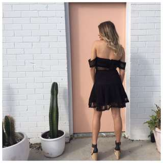 Size 6 Off The Shoulder Cutout Black Dress