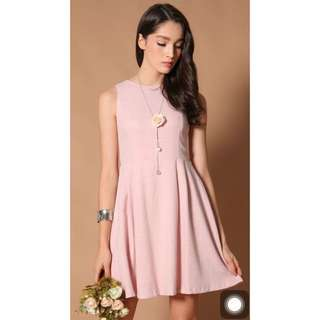 TSW Yuna Grid Pleated Dress in Sweet Pink