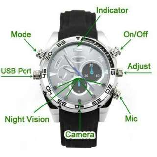 (Po)1920*1080P HD Life Waterproof Spy Watch Camera with IR Night Vision Hidden Cam 8GB 16GB 32GB