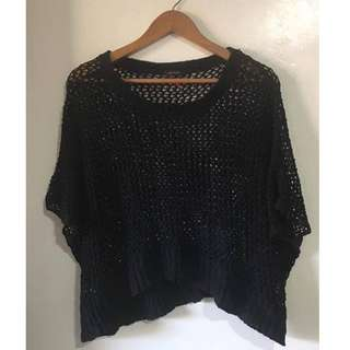 Black Loose Crochet Top / Cover-up