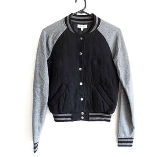 Varsity Jacket - Size 8 - Quilted Black and Grey Bomber